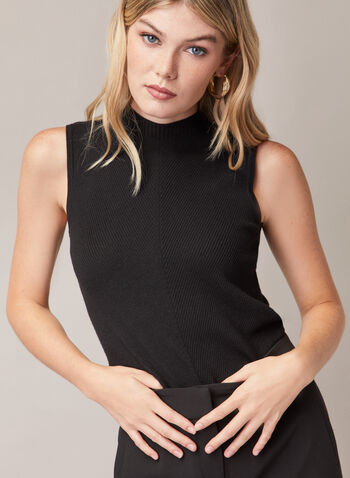 Sleeveless Mock Neck Sweater, Black,  sweater, sleeveless, rib knit, mock neck, spring summer 2020