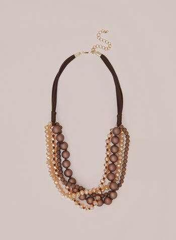 Multi-Row Beaded Necklace, Brown,  necklace, multi-row, beads, cord, fall winter 2020