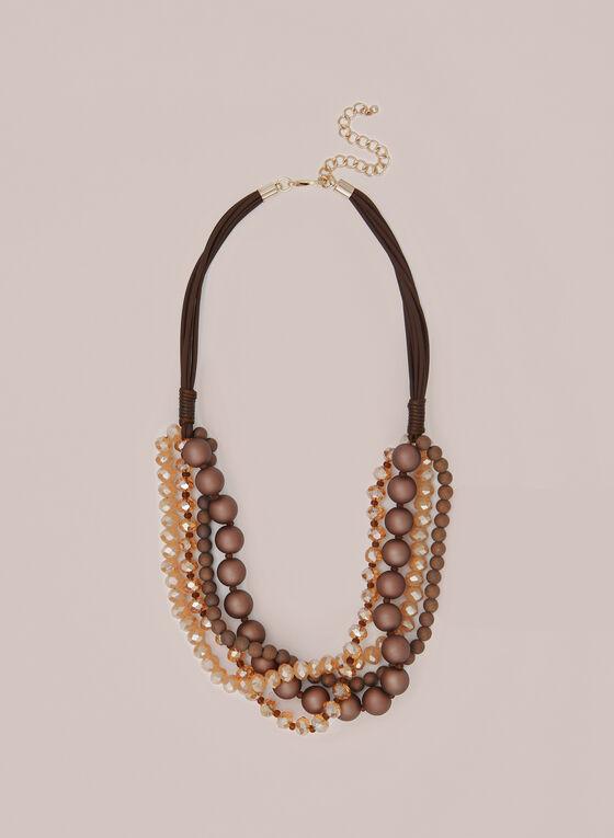 Collier à rangées de perles et cordons, Brun