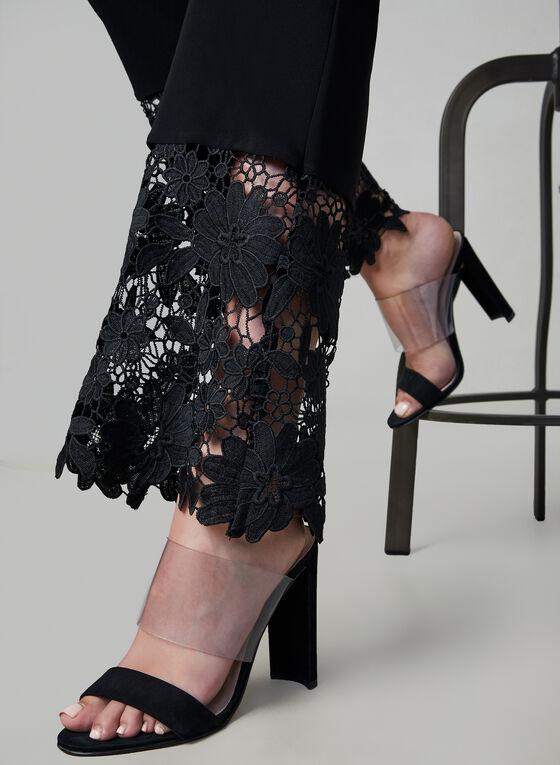 Pantalon pull-on à ourlet en crochet, Noir, hi-res