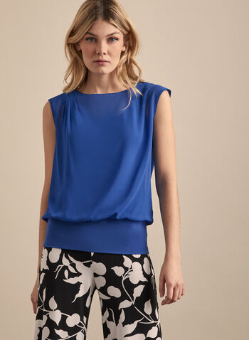 Cap Sleeve Boat Neck Blouse, Blue,  top, blouse, chiffon, crepe, tank, cinched, boat neck, cap sleeves, sheer, pleated, spring summer 2020