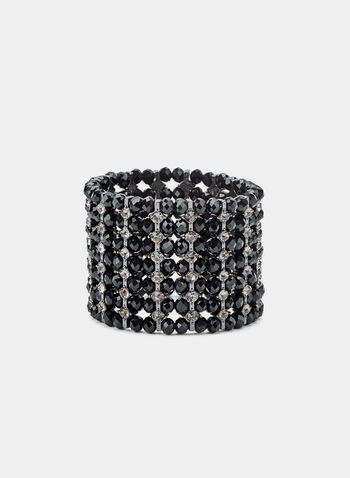 Crystal Stretch Bracelet, Black, hi-res