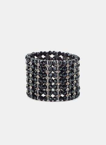 Bracelet extensible à pierres et cristaux, Noir, hi-res