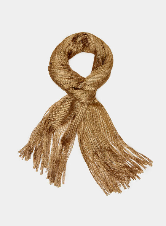 Knit Fringe Scarf, Gold, hi-res