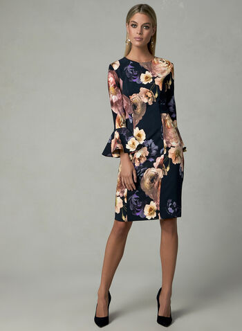 Joseph Ribkoff - Floral Print Dress, Black, hi-res