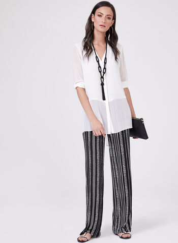 Dot Print Pull-On Wide Leg Pants, Black, hi-res