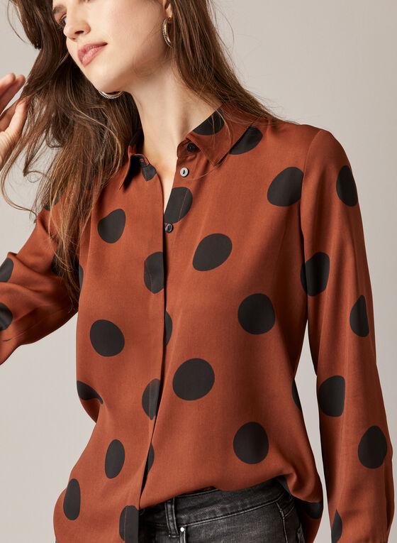 Oversized Polka Dot Blouse, Brown