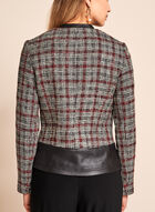 Vex - Bouclé Plaid & Faux Leather Trim Jacket, Black, hi-res