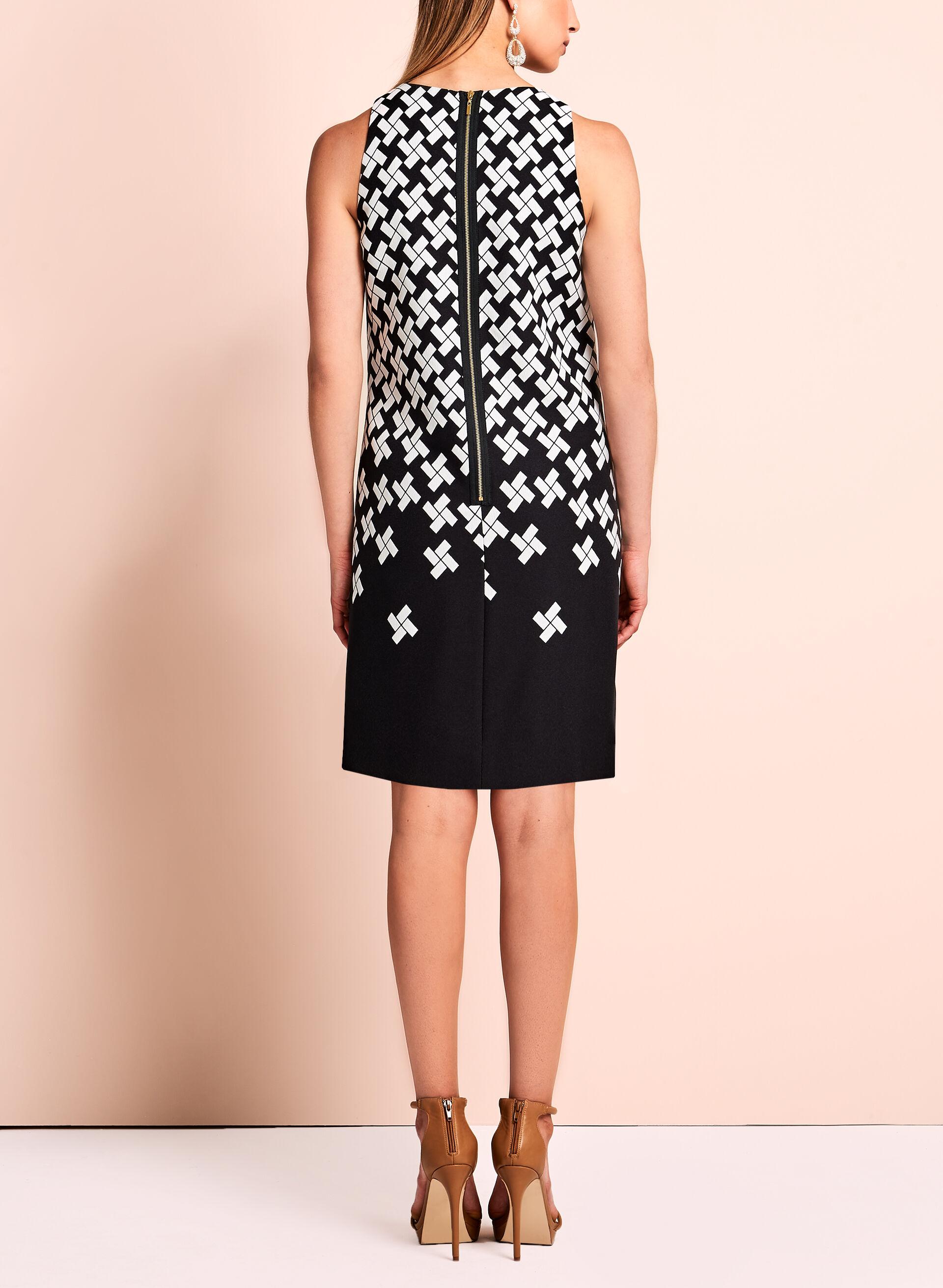 Sleeveless geometric print dress black&white red