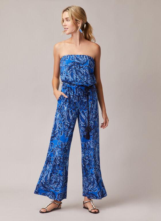 Combinaison bustier motif cachemire, Bleu