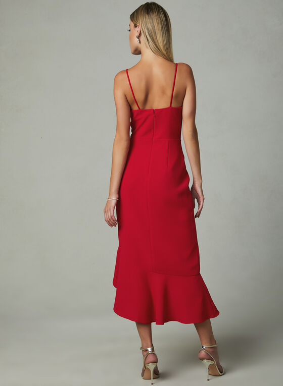 BA Nites - Faux Wrap Dress, Red, hi-res