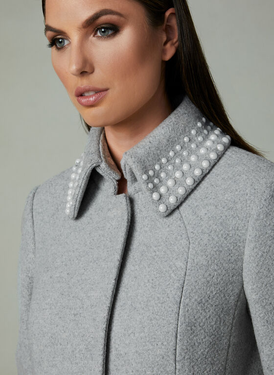 Karl Lagerfeld Paris - Pearl Embellished Collar Coat, Grey, hi-res