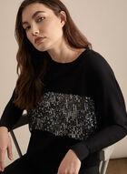 Long Sleeve Sequin Top, Black
