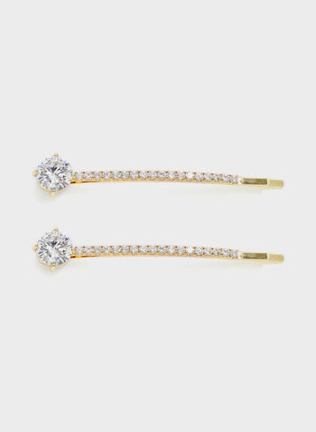 Pavé Crystal Hair Pin, Gold, hi-res