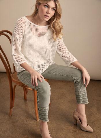 Jeans à jambe étroite et ourlet brodé , Vert,  jeans, jambe étroite, ourlet brodé, sequins, coton, poches, longueur cheville, printemps été 2020