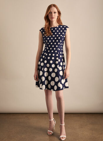 Maggy London - Polka Dot Print Day Dress, Blue,  dress, day dress, polka dot, fit & flare, scuba, cap sleeves, stretchy, spring summer 2020
