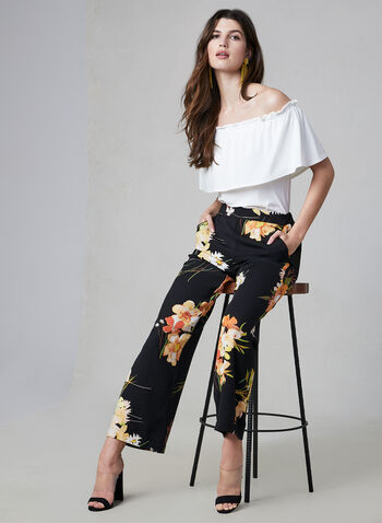 Floral Print Wide Leg Pants, Black, hi-res