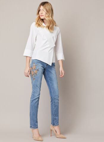 Joseph Ribkoff - Crystal Detail Embroidered Jeans, Blue,  fall winter 2020, jeans, denim, Joseph Ribkoff, jeans, slim leg, embroidery, floral, crystal