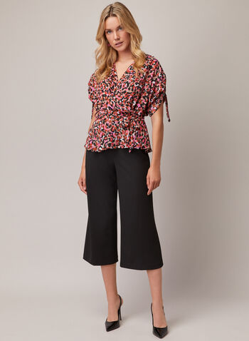 Joseph Ribkoff - Leopard Print Wrap Style Blouse, Multi,  blouse, wrap, leopard print, belt, crepe, spring summer 2020