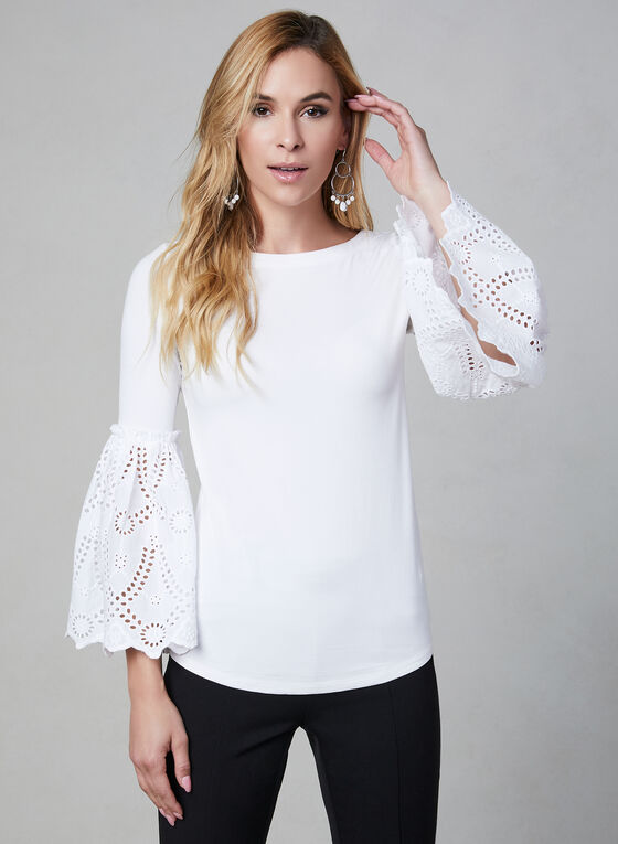 Bell Sleeve Top, White, hi-res