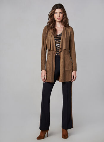 Faux Suede Jacket, Brown, hi-res,  jacket, faux suede, long sleeves, open front, fall 2019, winter 2019