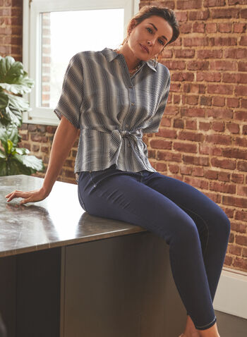 Vince Camuto - Stripe Print Tie Detail Blouse, Blue,  top, blouse, stripe print, short sleeves, shirt collar, tie, button front, spring summer 2021