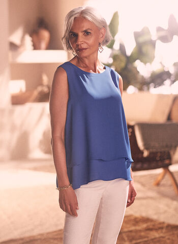 Layered Sleeveless Blouse , Blue,  spring summer 2021, scoop neck, tops, layered, open back,
