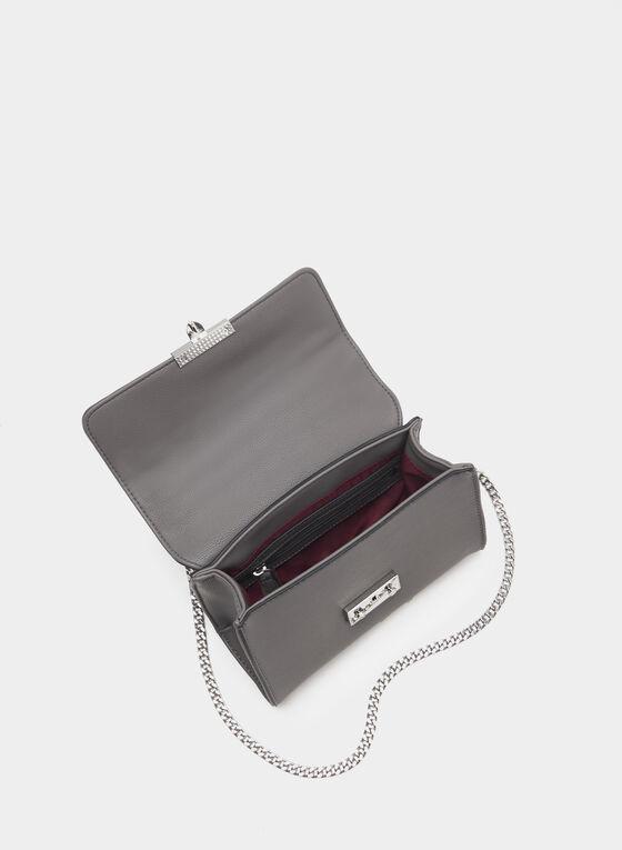 Two-Tone Chain Strap Purse, Grey, hi-res