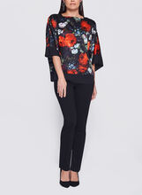 Floral Print Satin Kimono Top, Red, hi-res