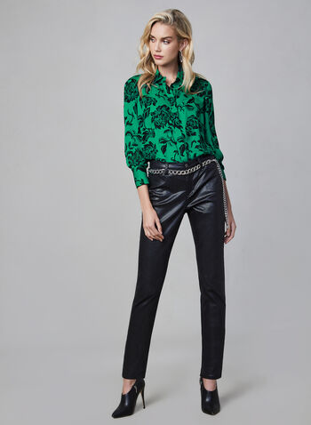 Floral Print Button-Down Blouse, Green,  long sleeves, floral print, flower print, print, blouse, top, button-down top, silk, fall 2019, winter 2019