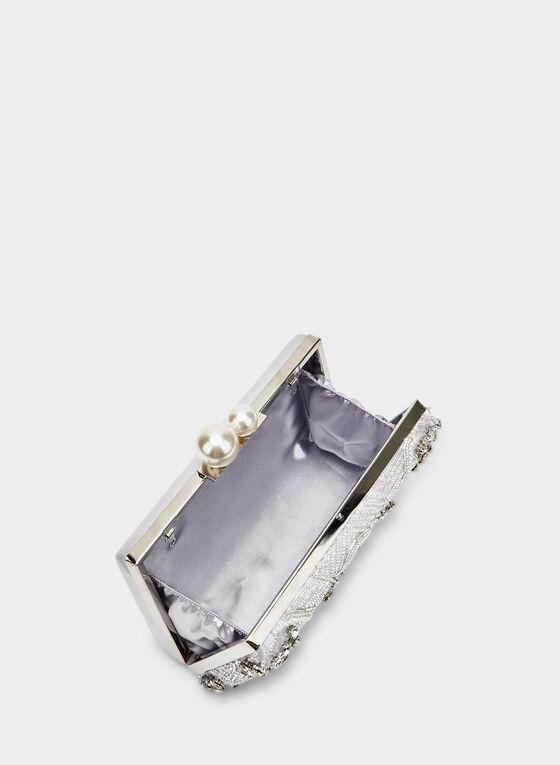 Pochette à perles, billes et cristaux, Argent, hi-res