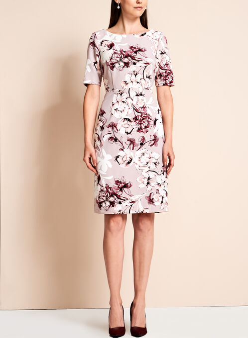 Short Sleeve Floral Print Dress, Multi, hi-res