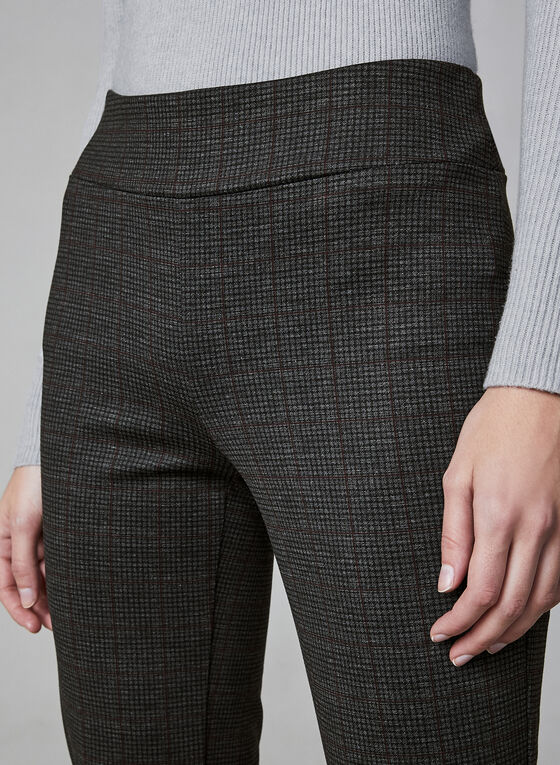 Pantalon taille pull-on à carreaux, Noir