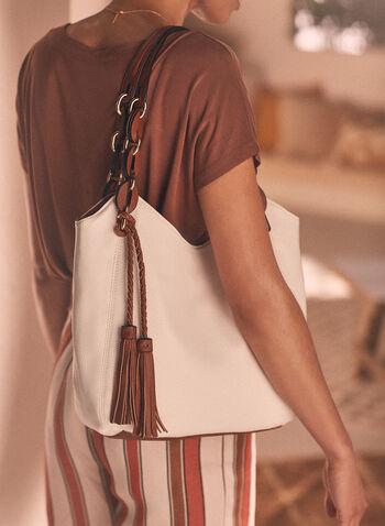 Tassel Detail Handbag, White,  handbag, accessories, shoulder strap, tote, zipper, tassel, spring summer 2021