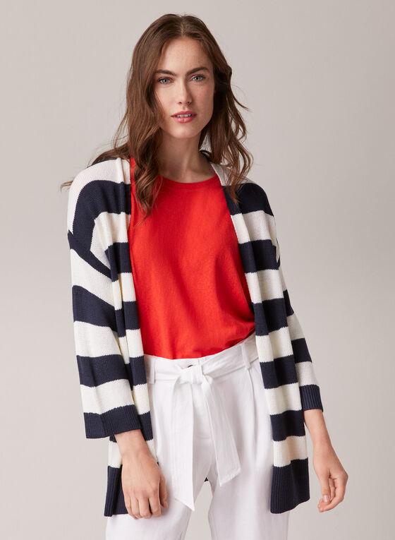 Stripe Print Open Front Cardigan, Blue
