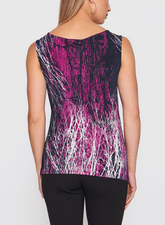 Abstract Print Ruched Front Top, Black, hi-res