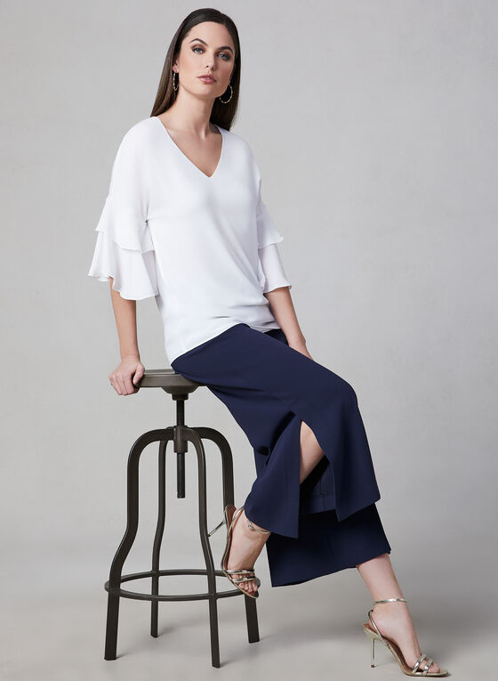 Ruffle Sleeve V-Neck Blouse, Off White