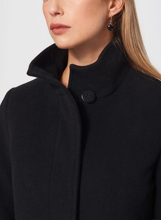 Mallia - Manteau ajusté et évasé en laine & col montant, Noir, hi-res