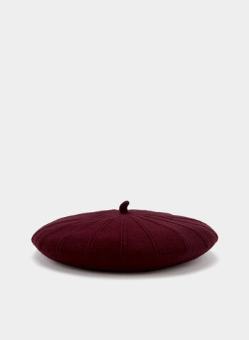 Contrast Stitch Knit Beret, Red, hi-res