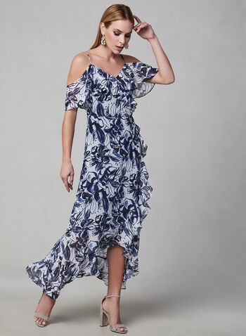 Floral Print Chiffon Dress, Blue, hi-res,  maxi, day dress, chiffon floral print, ruffles, off-the-shoulder, spring 2019