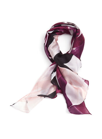 Leaf Print Lightweight Oblong Scarf , Purple, hi-res