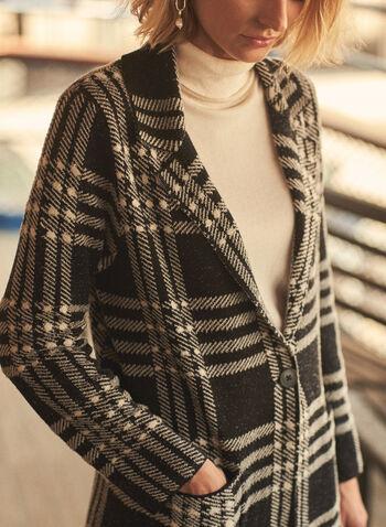 Plaid Notch Collar Coatigan, Black,  fall 2021, coatigan, cardigan, coat, cardicoat, transitional, transition, transitional outerwear, notch collar, notched collar, long sleeve, button front, pockets, plaid, plaid print