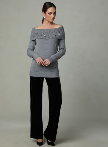 Frank Lyman - Marilyn Collar Knit Tunic, Grey, hi-res