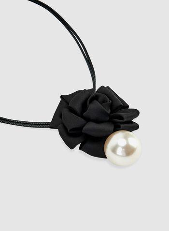 Floral Pendant Necklace, Black, hi-res
