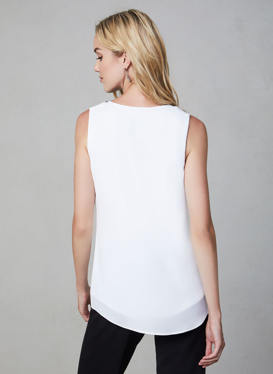 Joseph Ribkoff - Contrast Sleeveless Top, Off White