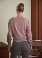 Satin Sleeve Crew Neck Sweater, Pink