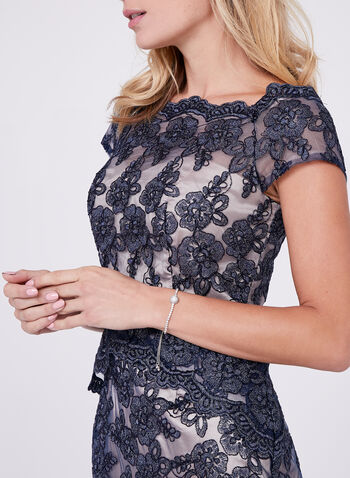 Decode 1.8 - Off The Shoulder Glitter Lace Dress, Blue, hi-res