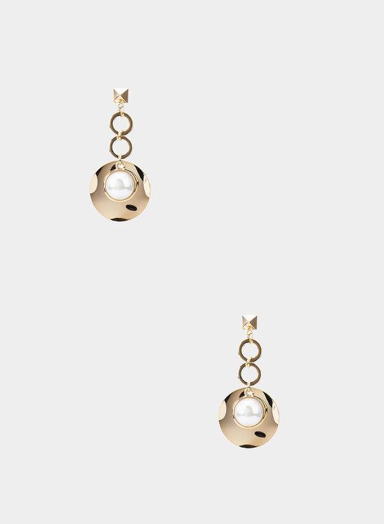 Boucles d'oreilles à pendants disques et perles, Blanc cassé