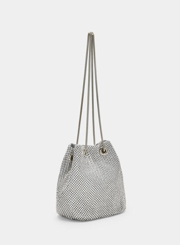 Crystal Mesh Clutch, Silver, hi-res