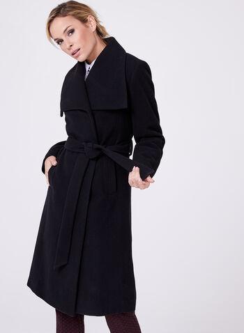 Hilary Radley - Belted Wool Blend Coat , Black, hi-res